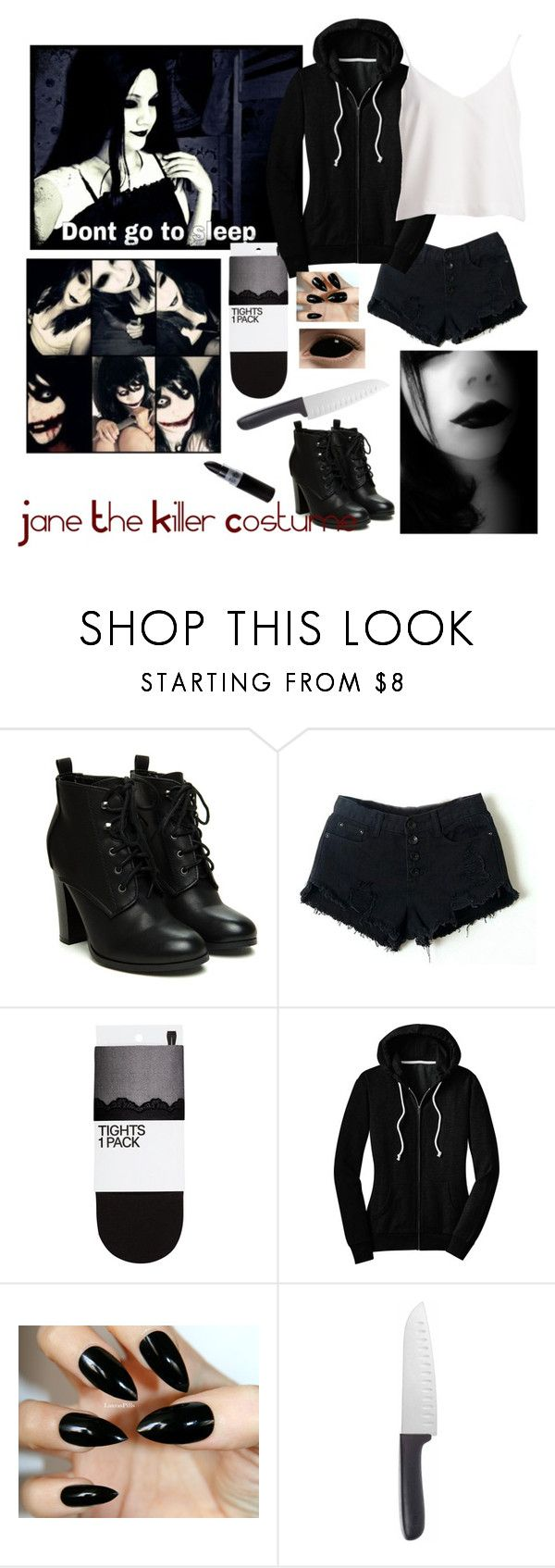 """Jane The Killer Costume"" by phychopaintlover ❤ liked on Polyvore featuring Retrò, H&M and OXO"