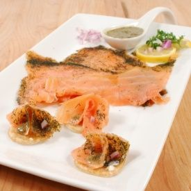 This sublime delicacy is made with the finest Scottish smoked salmon using the traditional Scandinavian recipe of marinating in sugar, salt, and dill.