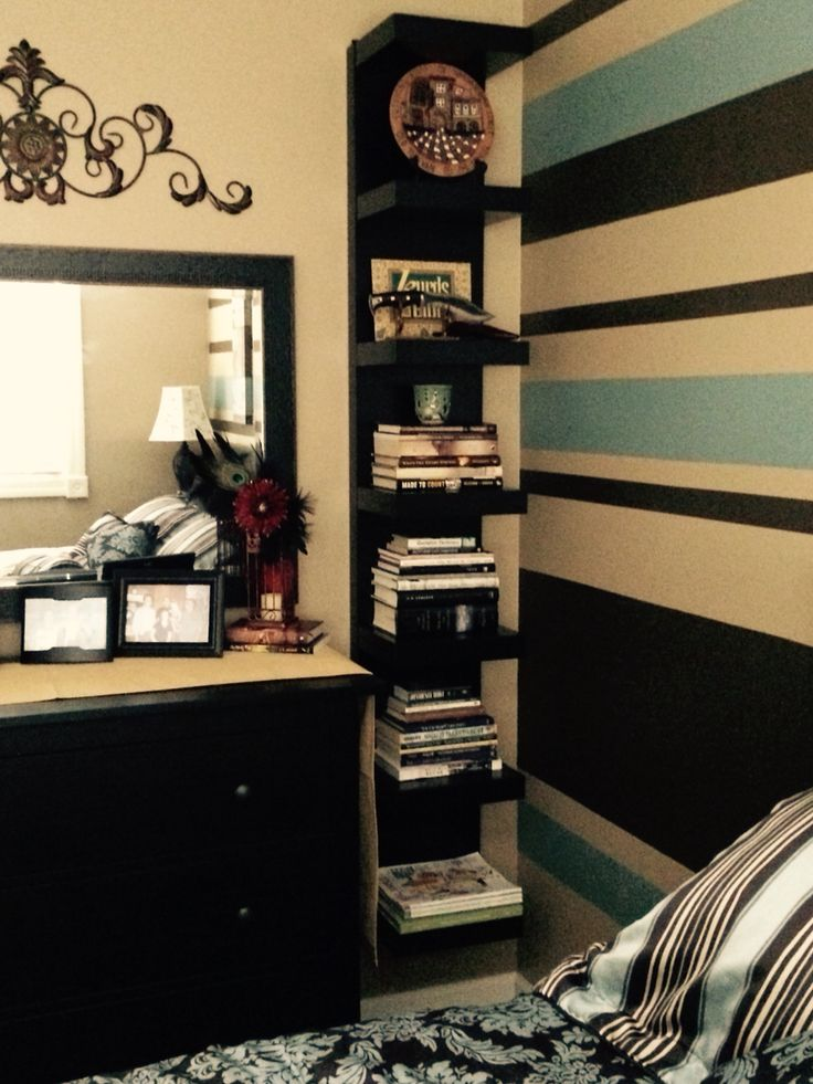 Ikea lack wall shelf on either side of my dresser in my for Bedroom shelving ideas pinterest
