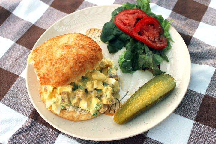 Ham & Egg Salad Sandwich recipe with chopped ham and green onions, perfect for summer!