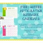 {FREE} Summer Speech Homework Calendars for Articulation Pinned by SOS Inc. Resources http://pinterest.com/sostherapy.
