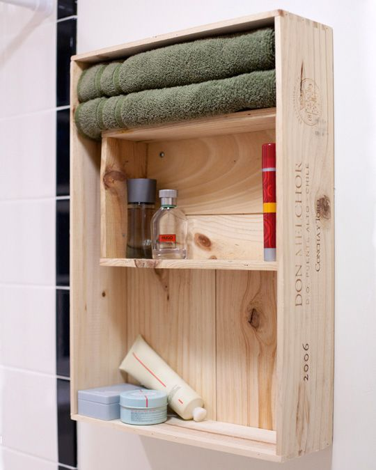 Wine Crate Shelving for Bathroom Storage