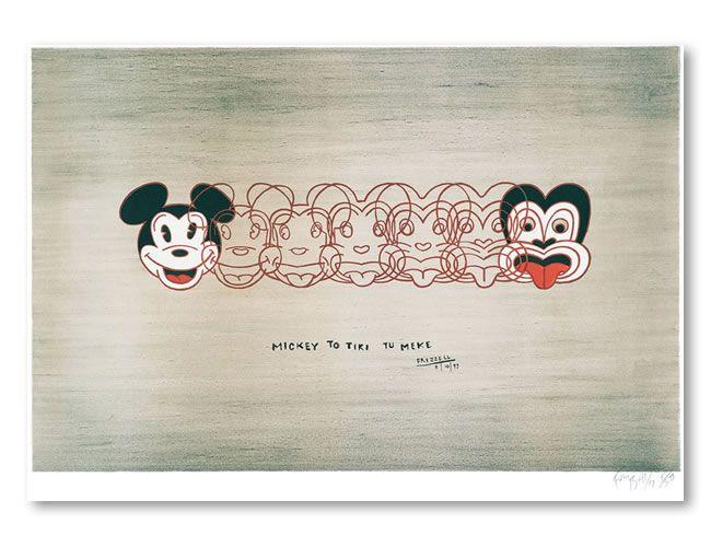 Mickey to Tiki tu Meke by Dick Frizzell. An iconic New Zealand artwork.