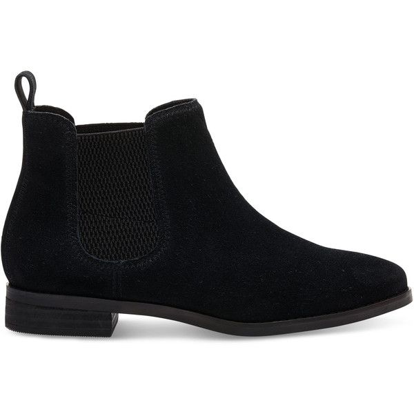 TOMS Black Suede Women's Ella Booties (870 GTQ) ❤ liked on Polyvore featuring shoes, boots, ankle booties, black, toms booties, chelsea boots, black ankle bootie, black boots and ankle boots
