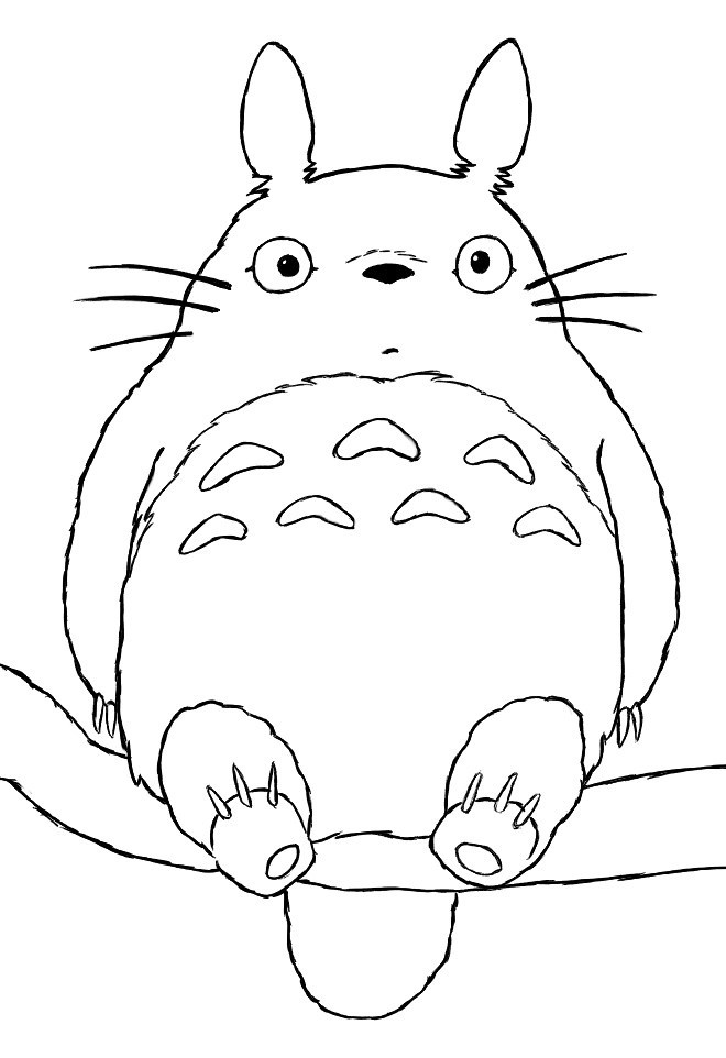T is for Totoro!!!!!!Totoro coloring page