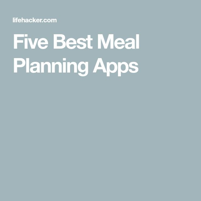 Five Best Meal Planning Apps