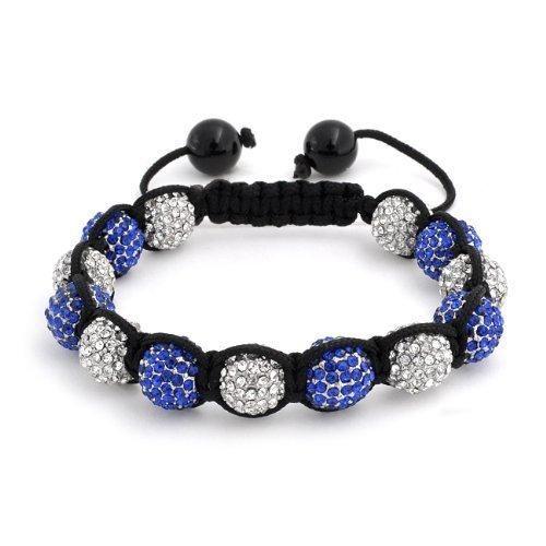 Bling Jewelry Crystal Shamballa Inspired Bracelet Sapphire Blue Beads 10mm