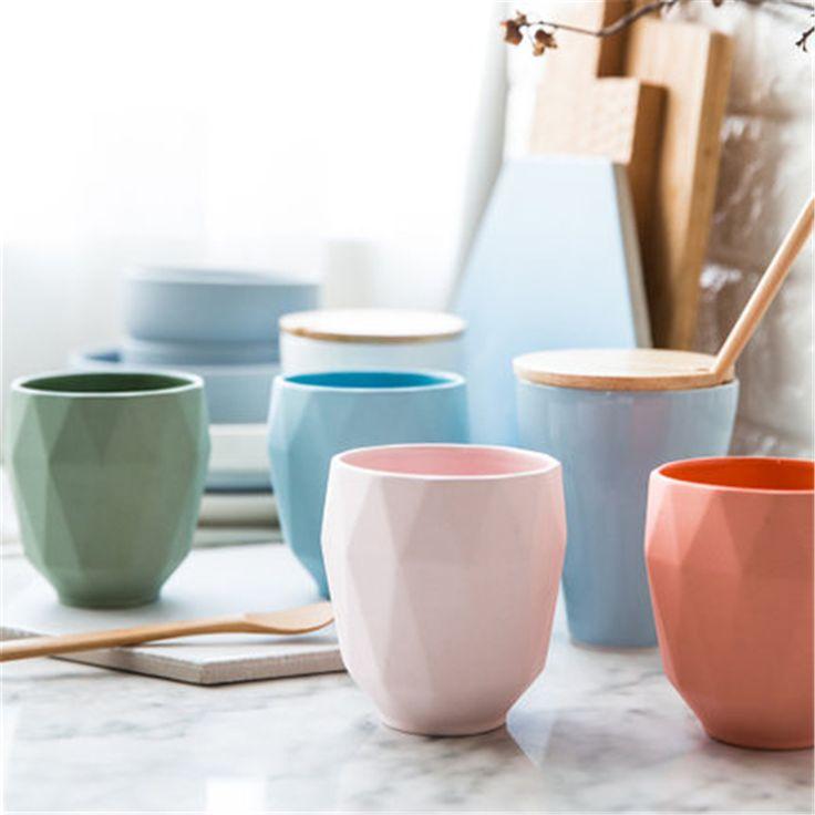 Portable Creative Ceramic Coffee Cup Mugs Water Beautiful Milk Mugs Breakfast Copo Personalized Porcelain Cup Simple QQB1277 #Affiliate