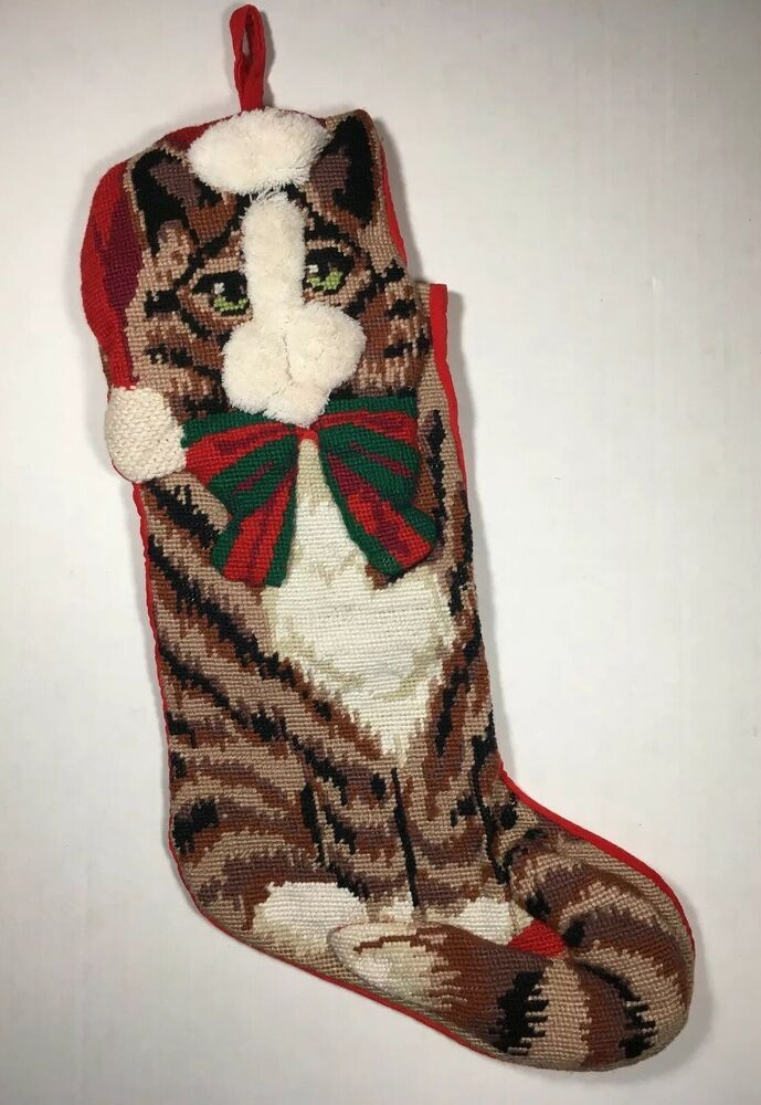 Details about Needlepoint KITTY CAT Christmas Stocking ...