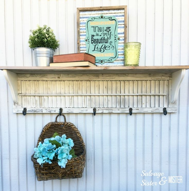 DIY Wood Shutter Shelf - Salvage Sister and Mister