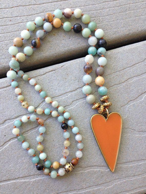 Boho Orange Heart Amazonite Beads Handknotted by by SeeJanesBeads