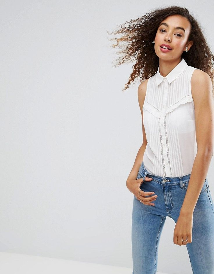 ASOS Sleeveless Shirt with Pintuck and Lace Detail - White