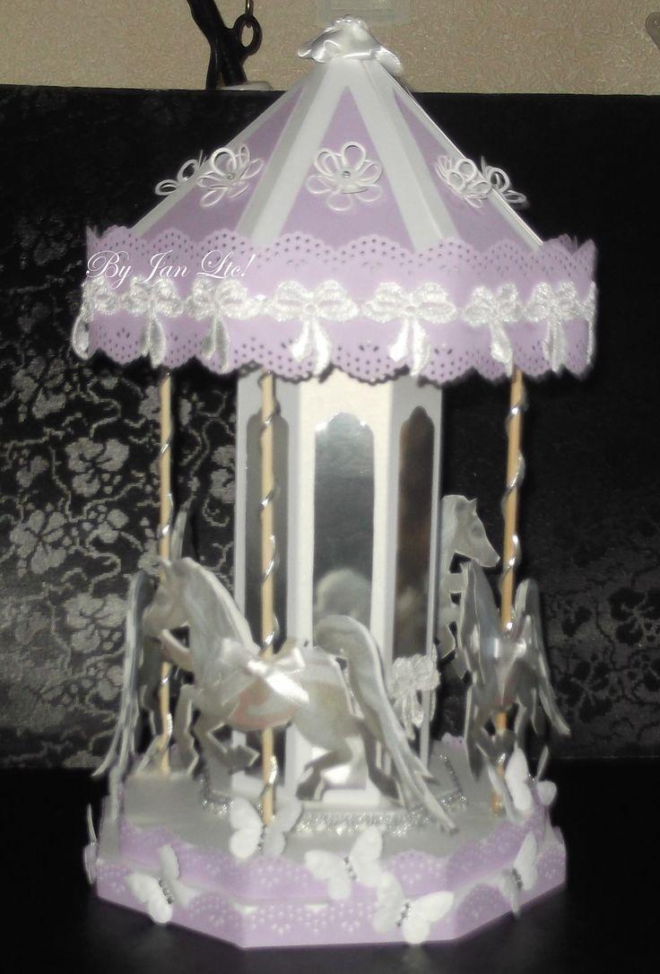Lilac handmade card carousel http://janlovetocraft.blogspot.co.uk/