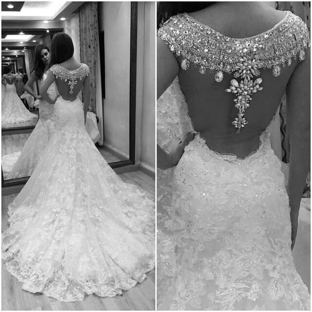 2015 Luxury Rhinestones V Neck Mermaid Wedding Dress Bridal Gowns Size 4 6 8 10+