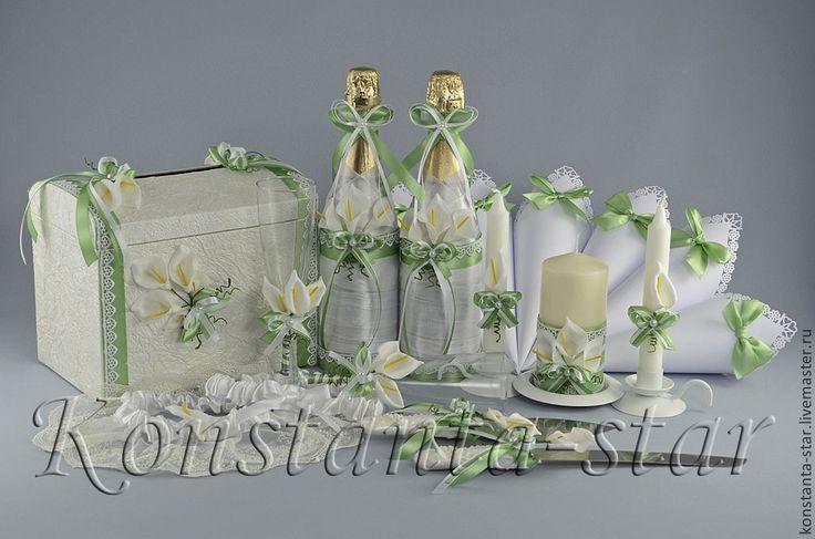Купить Шампанское и бокалы с каллами - салатовый, салатовая свадьба, каллы на свадебе, каллы на свадьбу