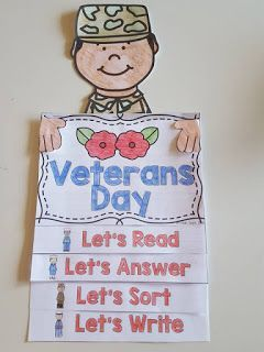 veterans day flip book with reading passage and comprehension activity
