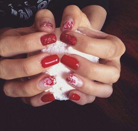 #nails #unghie #gel #Natale #rosso #fiori #zuccherato