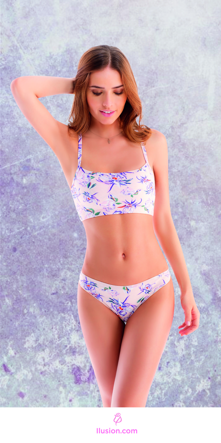 All cotton bralette and matching panty. Flamingo Floral featuring salmon pink tones. For more Lingerie visit Ilusion.com