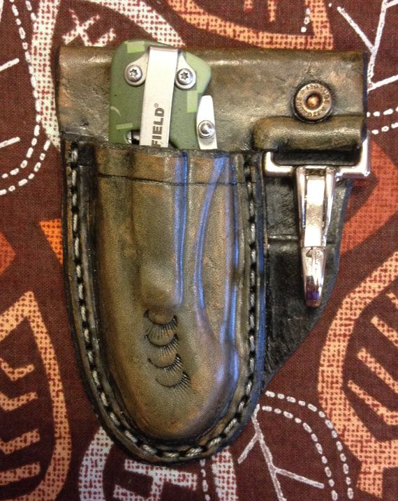 Pocket Knife with Custom Leather Sheath and Key Clip