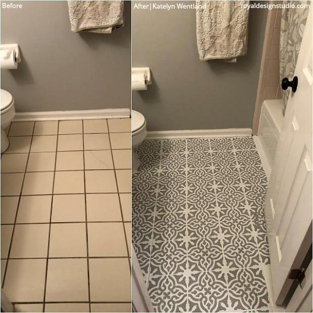 Seriously Gorgeous House Renovation Ideas Diy In 2020 Painted Bathroom Floors Rental Bathroom Makeover Brown Tile Bathroom