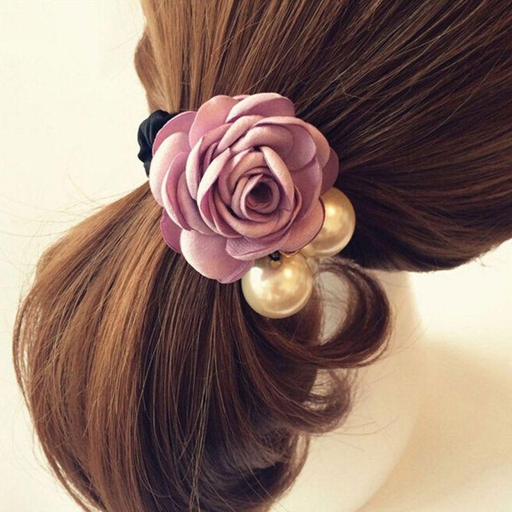 Cute Fashion Beautiful Rose Flower Elastic Hair Tie Hair Band Rope Hairdressing Accessories Fashion Hair Accessories Hair Style