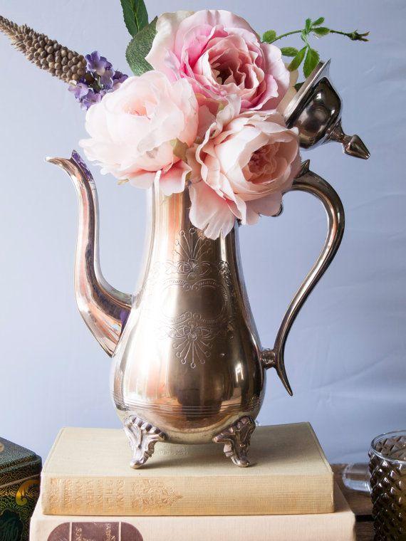 Vintage Silver Teapot Centerpiece  | Vintage Wedding Silver Antique Vase | Table Centerpieces