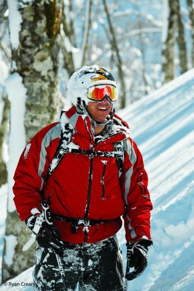 Warren Miller athlete Jonny Moseley enjoying the pow in Japan.