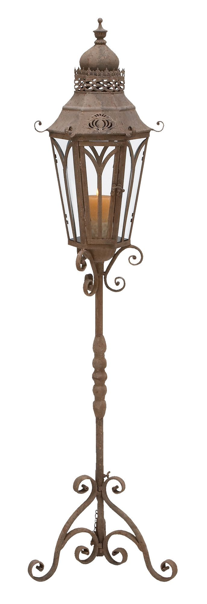 "Features:  Style: -Traditional.  Finish: -Rust Brown.  Holder Material: -Glass/Metal. Dimensions:  Overall Height - Top to Bottom: -56"".  Overall Width - Side to Side: -15"".  Overall Depth - Front to"