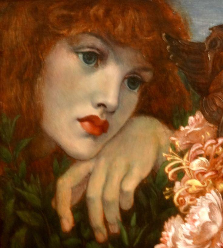 Dante Gabriel Rossetti (1828-82) - La Ghirlandata, 1873. (Painted at Kelmscott with model Alexa Wilding, the angel heads painted from Jane Morris' daughter May) : detail