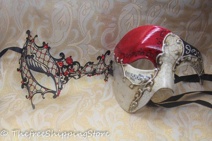Masquerade Masks for Couples | Matching Couple Lover Red Phantom Musical Venetian Masquerade Mask New ...