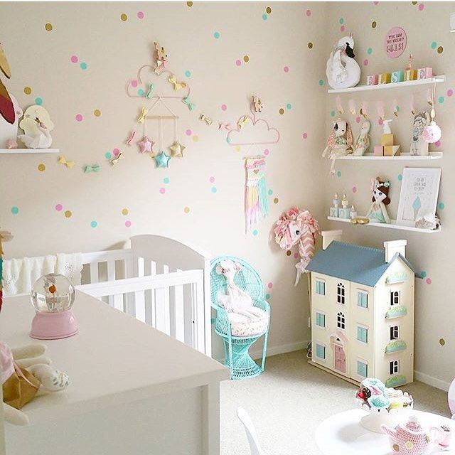 The dotty wall fills the room baby room pinterest for Girls bedroom wallpaper