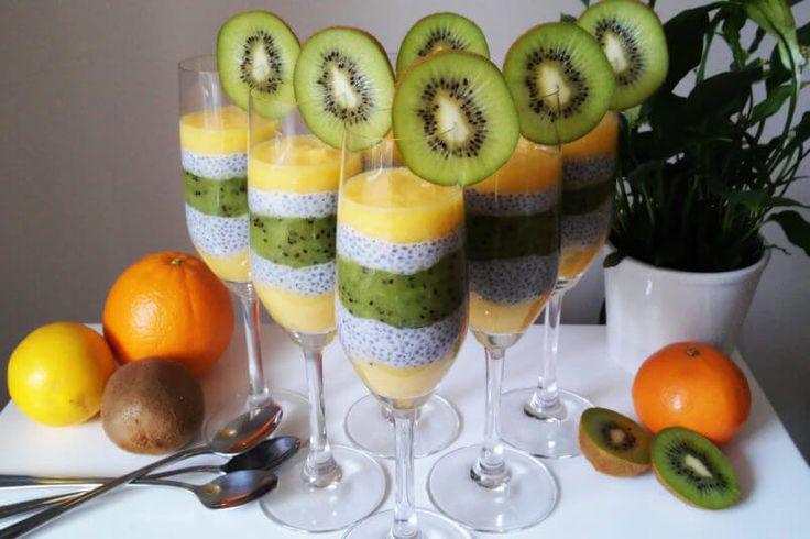 Pudding z nasion chia z kiwi i pomarańczą - elegancki i zdrowy deser