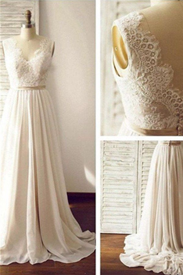 Simple Long Chiffon Lace A-line V-neck Beach Wedding Dresses W36