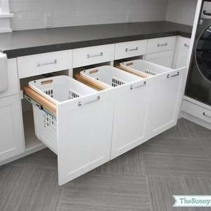 Laundry Room Ideas - Install Drawer Baskets For Sorting