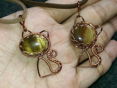 Wire Jewelry Tutorial ~ how to make a wire wrapped Cat pendant with cabuchon