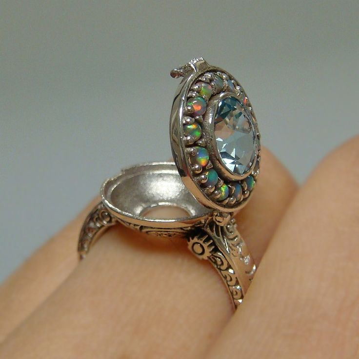 Aquamarine & Opal Poison Locket Sterling Silver