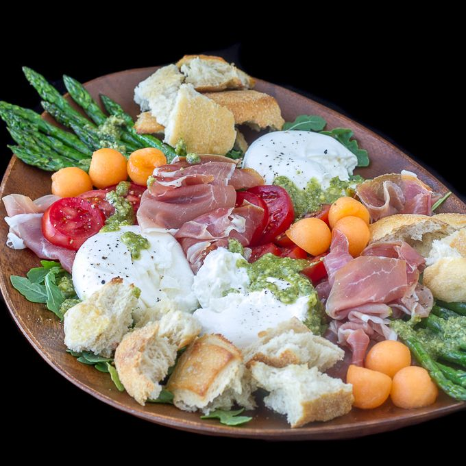 This Prosciutto Burrata Asparagus Salad also has tomatoes, arugula, cantaloupe, pesto and crusty bread. Makes a great antipasto appetizer too!