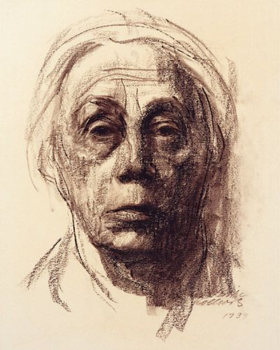Käthe Kollwitz | Compassionate Action Network This is one of her most famous self portraits. She uses line and the same medium charcoal to give the composition tone and balance whilst creating the emotions. The emotions depict the greif and saddness she is undergoing