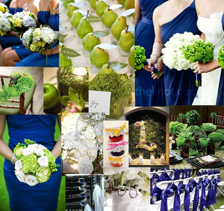 White And Blue Wedding Ideas: Love The Bright Green Paired With This Beautiful Blue