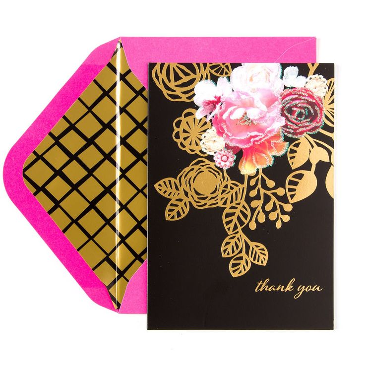 how to write thank you notes for wedding gift cards%0A Florals With Gold Accents Boxed Thank You Notes  Set of