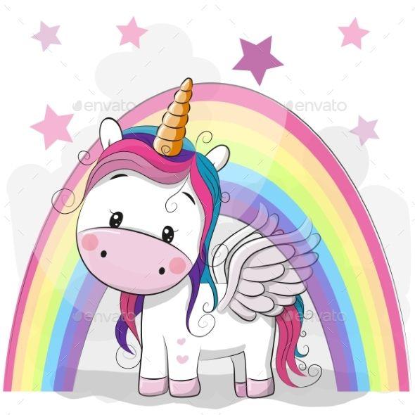 Cute Cartoon Unicorn And Rainbow Cute Cartoon Cartoon Unicorn