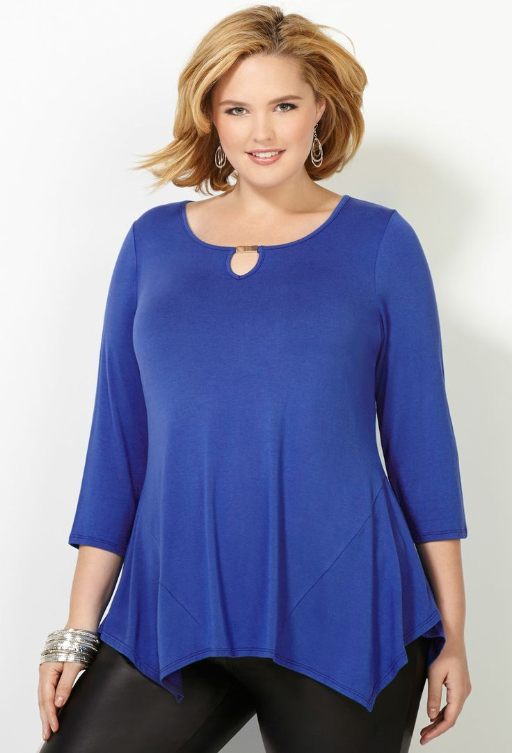 Metal Accent Sharkbite Top-Plus Size Top-Avenue