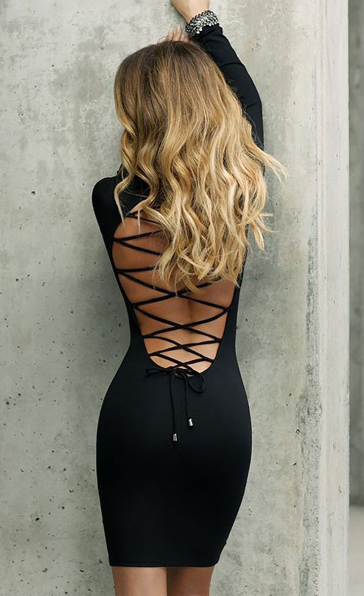 $Lace Up Back Long Sleeve Bodycon Mini Dress                                                                                                                                                                                 More