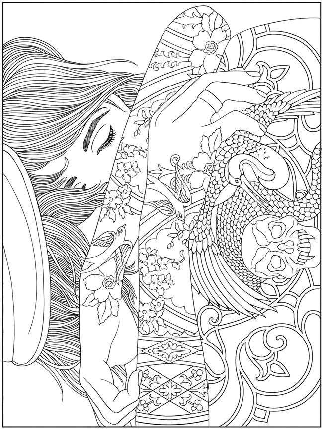 printable adult coloring pages abstract BODY ART TATTOO colouring pages FREE samples @ Dover Publications  printable adult coloring pages abstract