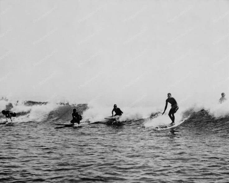 Hawaii Surfers Brave The Waves! 8x10 Reprint Of Old Photo