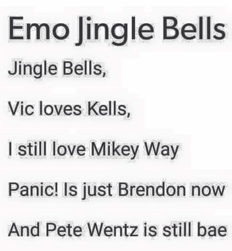 Emo Christmas spirit, this song will be my life, along with that one cheerful yet deadly FOB Christmas song.... yea go search Yule Shoot Your Eye Out. It's a song i promise XD