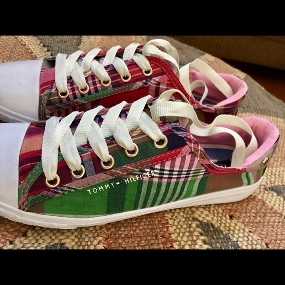 Tommy Hilfiger Shoes - Tommy Hilfiger Ladies Madras Plaid Sneakers NWOT