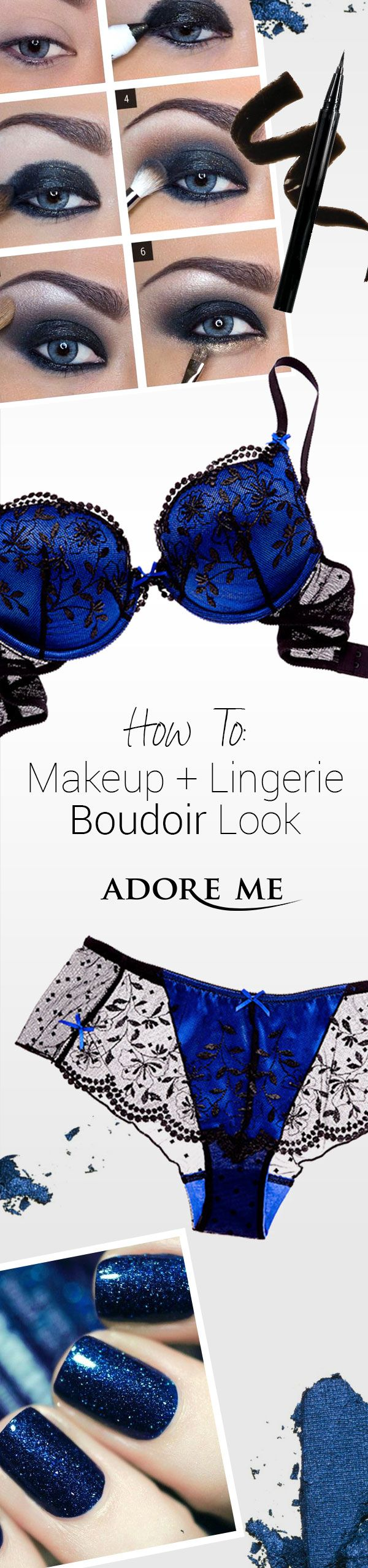 Want an easy boudoir-approved look? Match the tones of your lingerie to your eye makeup, nail polish, even your hair! Get inspired with lingerie from Adore Me <3