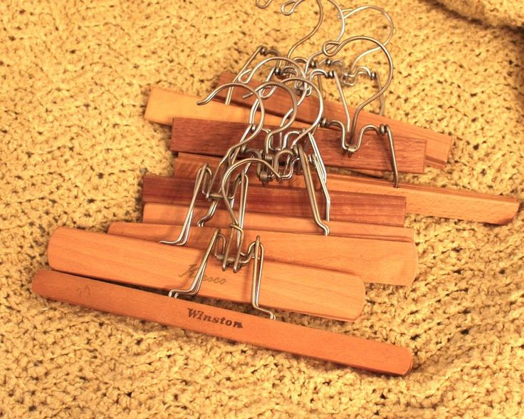 Wood Wooden Pant Hangers Lot of 9 Skirts Pants Clamp Vintage Clothing #Unbranded