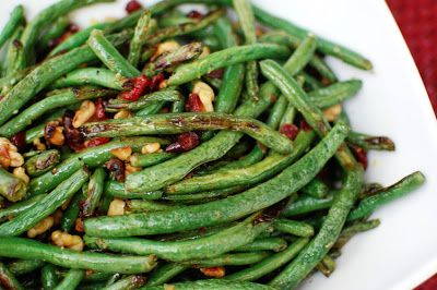Roasted Green Beans with Cranberries and Walnuts | Beantown Baker